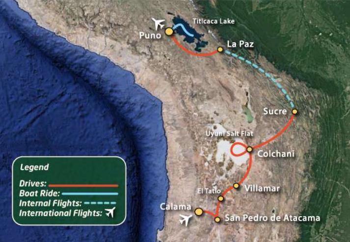 Atacama, Uyuni, Titicaca Expedition Tour Map New Paths Expeditions
